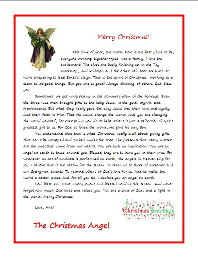 CHRISTMAS ANGEL LETTER FOR AN ADULT