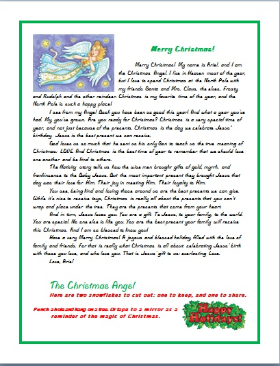 CHRISTMAS ANGEL LETTER FOR A CHILD