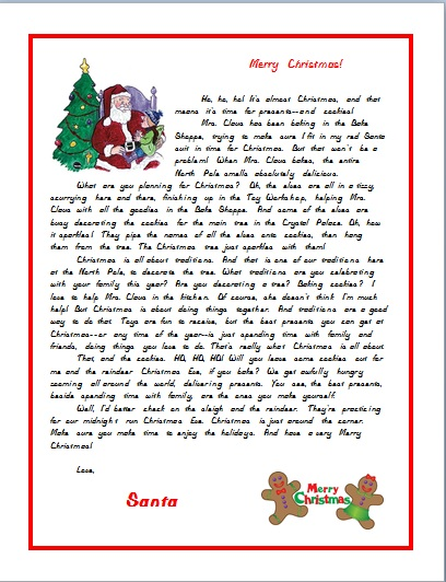 SANTA LETTER SCHOOL AGE GIRL DRESSING UP