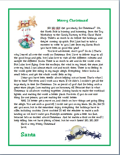 SANTA LETTER SCHOOL AGE FLYING