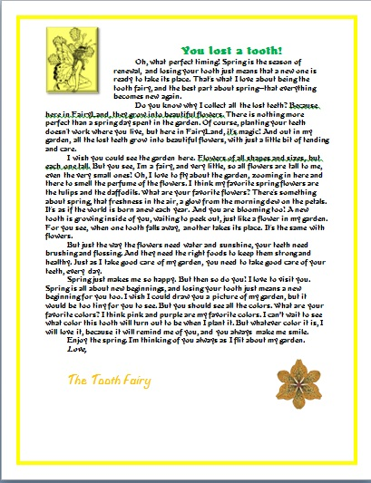TOOTH FAIRY letter spring