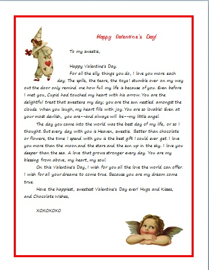 VALENTINE'S LETTER FOR A CHILD--HUMOROUS SWEET height=