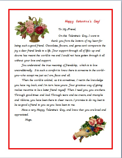 VALENTINE'S LETTER FOR A FRIEND height=